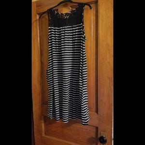 Black & White Knit Dress with Lace Neckline